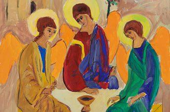 Trinity (c)2017, SJSchaffeld -c opy of Andrei Rublev 'Trinity'