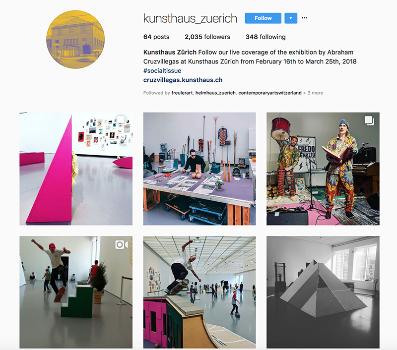 screenshot IG @kunsthaus_zuerich (24 March 2018)