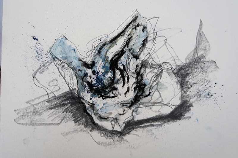 Drawing of scrunched A4 paper (pencil, Conté crayon, dry pastel)