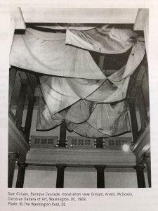 Sam Gilliam 'Baroque Cascade' , Installation View, Corcoran Gallery, Washington, DC, 1969; Photo: The Washington Post, DC - scan from exhibition guide