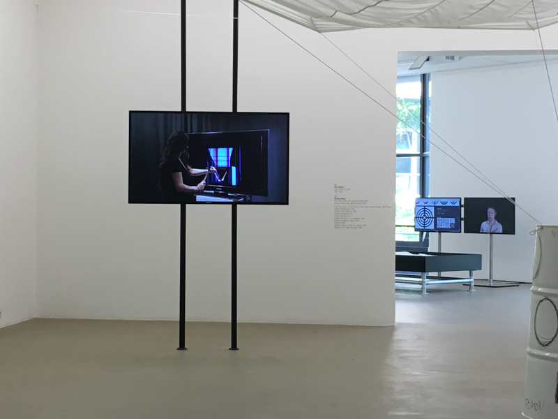 Hito Steyerl (2010) 'Strike', Single-channel video, sound, flat screen, two metal poles, 0:28 min; Photo: StefanJSchaffeld