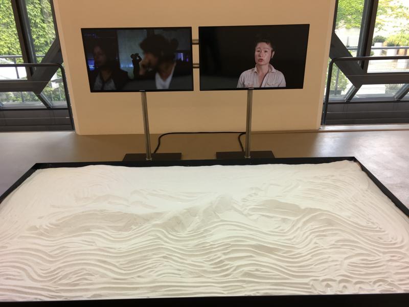 Hito Steyerl (2013) 'Is the Museum a Battlefield?' Two-channel digital video, sound, 39:53mins; Photo: StefanJSchaffeld