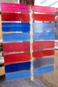 acrylic and oil paint on: window color sheet