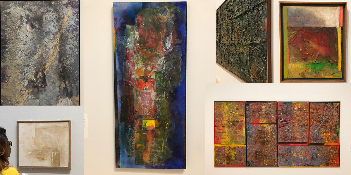 Fig. 2: collage of photographs from exhibition - Frank Bowling
