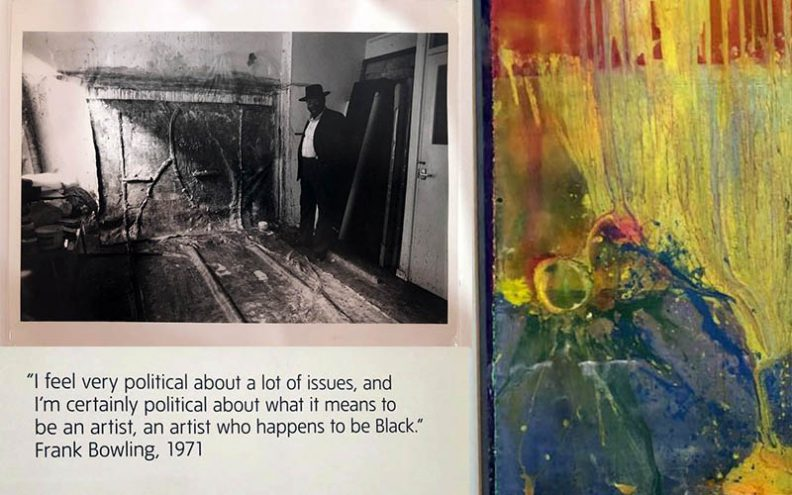 collage of photographs taken at exhibition -Frank Bowling