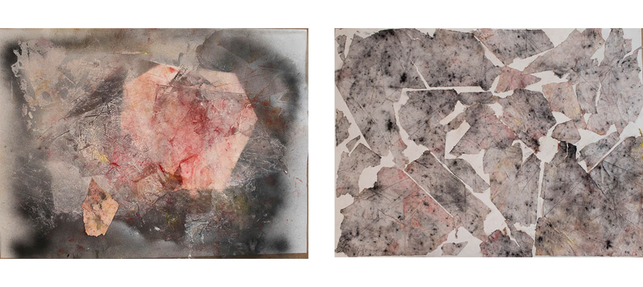 'What is Left Behind', 2018 (acrylic, pigment, charcoal, 50 x 70 cm) and The 'Puzzle of Gesture'., 2018 (collage, 50 x 70 cm)
