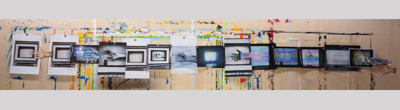 Fig. 2: Disruptive Narratives' - photo documentation of my gestural investigation of my gestures. A multiplicity of layered realities through painting, photographing, re-painting, printing, collage - a bodily interaction with space and inside the space of the work